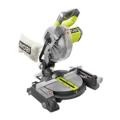 Sliding (Compound Saw Miter & Bevel Cut with Laser Guide & Blade Wrench Ryobi 7-1/4 Inch) Heavy-duty Motor. Cordless 18 Volt Battery. Quick Mount, Extremely Compact & Lightweight Design