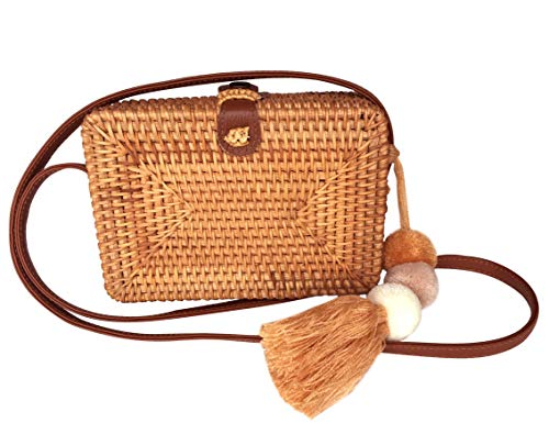 Rattan Crossbody Bags - Square Woven Wicker Straw Purses (PU Leather Strap) (Handmade Purse Basket)