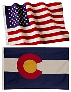 5x8 Embroidered American Flag & 5x8 Colorado Flag American Made Nylon