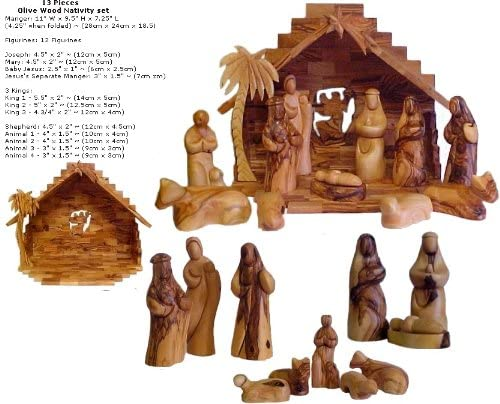 Christian Gifts Faceless Olive Wood Nativity Set – Made in Bethlehem
