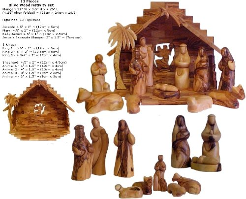 Faceless Olive Wood Nativity Set - 13 Pieces by HolyLandNetwork