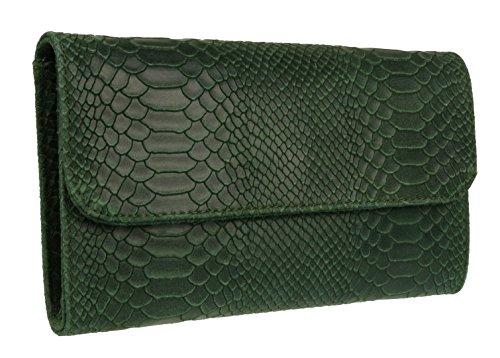 Oscuro Bolso Piel Mano De Handbags Estampado Verde Con Girly Italiana Serpiente gnp6xZCwq