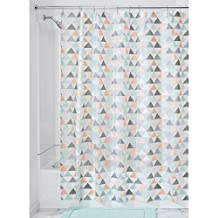 InterDesign Triangles Mold and Mildew-Resistant PEVA 5 Gauge Shower Curtain – Triangles – 72 x 72 inches