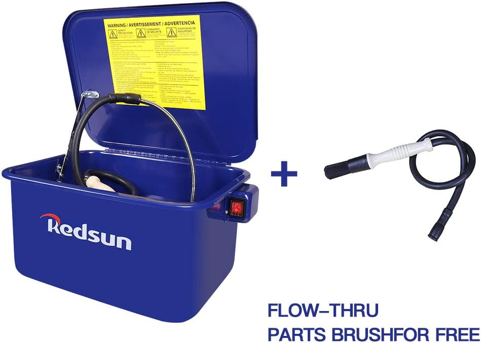 Red Sun Parts Washer 3.5 Gallon Capacity Tank Cabinet Electric Solvent Pump&Brush Protable Automotive Parts Cleaner for Wheel Bearings, Gears, and carburetors (Blue)