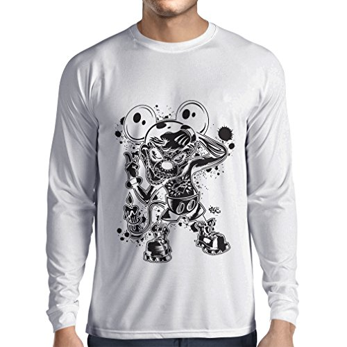 Long sleeve t shirt men a mouse with an amazing Halloween costume (Medium White Multi Color)