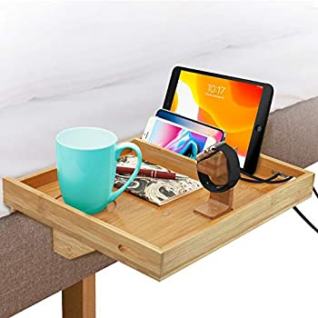 Bamboo Natural Color Loft Bed Floating Nightstand Organizer Roy Power Bedside Shelf Adjustable Bed Stand Tray,Minimalist Style Bedshelfie for Cellphone Tablet Remote Drink Books