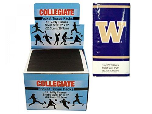 StarSun Depot Washington Huskies Pocket Tissues Countertop Display - Set of 48, [Sports Licensed Products, Sports Licensed Products]
