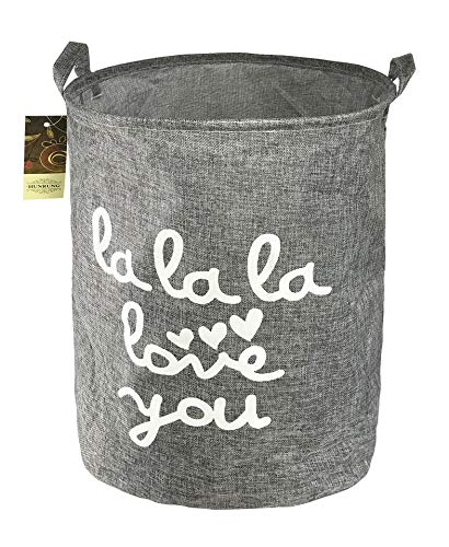 Laundry Clothes Toy Hamper - HUNRUNG Large Home Organizer Bin, Storage Bags, Cotton and Linen Clothes Hamper, Foldable & Waterproof Laundry Basket for Bedroom, Bathroom, Baby Nursery, Toy Organizer (Grey)