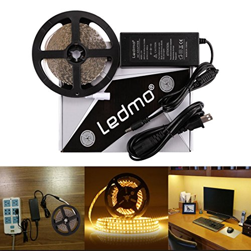 LEDMO LED Light Strip, SMD 2835 Warm White 3000K, Dimmable , Non-Waterproof , DC12V 600LEDs 16.4 Ft LED ribbon,LED Tape Ribbon,Decoration Led Ribbon With Power Supply (Led Ribbon Waterproof)
