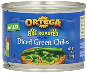 Ortega Original Fire Roasted Diced Green Chiles, Mild, 4-Ounce Cans (Pack of 24)