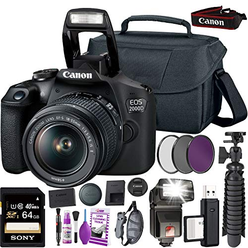 Canon EOS 2000D (Rebel t7 International Model) DSLR Camera and EF-S 18-55 mm f/3.5-5.6 is II Lens + 64GB Memory Card + Camera Bag + Cleaning Kit + Table Tripod + Flash + Filters