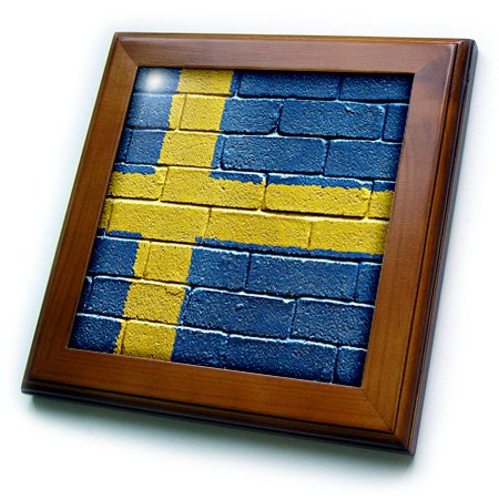 Swedish Flag Framed (3dRose ft_156996_1 National Flag of Sweden Painted Onto A Brick Wall Swedish Framed Tile, 8 by 8