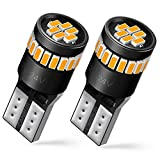 AUXITO 194 LED Light Bulb, Amber Yellow 168 2825 W5W T10 Wedge 24-SMD 3014 Chipsets LED Replacement Bulbs for Car Dome Map License Plate Lights Pack of 2