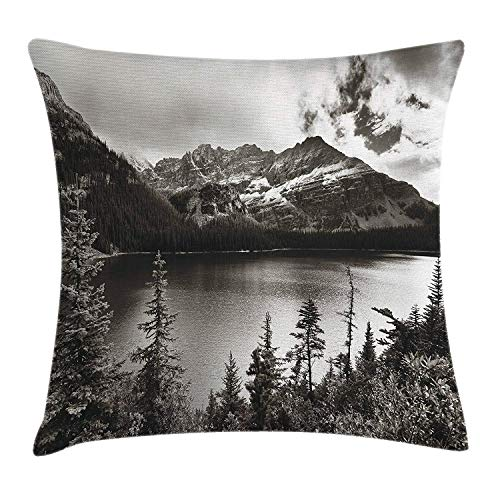 K0k2t0 National Parks Home Decor Throw Pillow Cushion Cover by, Alpine Area Province Waterfront Recreation Relax Design, Decorative Square Accent Pillow Case, 18 X18 Inches, Sepia]()