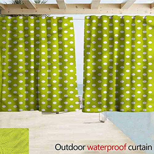 MaryMunger Outdoor Waterproof Curtains Retro Lime Vintage Polka Dots Energy Efficient, Darkening W63x72L Inches