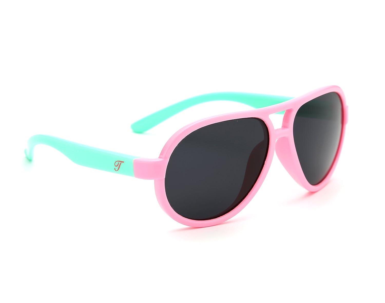 Tijn Kids Super Flex goma Aviator Gafas de sol polarizadas para las niñas niños