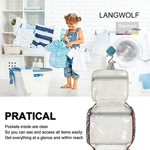Langwolf Hanging Travel Toiletry Bag for Women and Men, Water-resistant Large Capacity Cosmetic Makeup Travel Toiletries Organizer