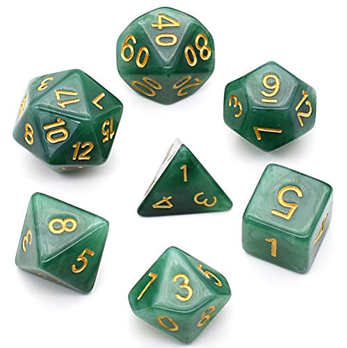 Maori Green Stone - DND Dice Sets Jade Dice for Dungeons and Dragons Pathfinder DND RPG MTG Table Gaming Dice(Blackish Green dice)