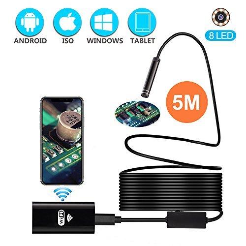 Wireless Endoscope, Waterproof Semi-Rigid USB Endoscope 8 LED Inspection Camera, 2.0 Megapixel HD...
