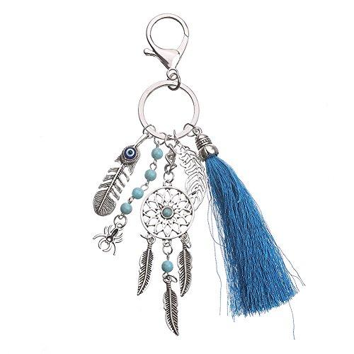 Gespout Dreamcatcher Keyring Fashion Keychain Handbag Leaf Pendant Car Decoration Romantic Couple Gift for Girl Women