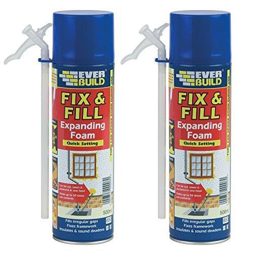 Everbuild 2Pc 500Ml Fill & Fix Quick Setting Polyurethane Expanding Foam White by Everbuild