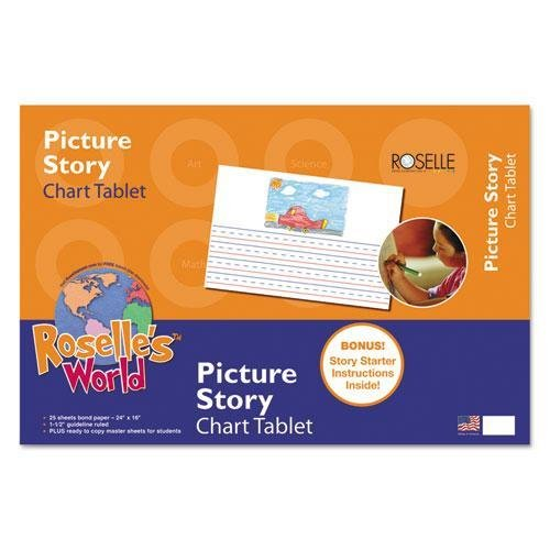 Picture Story Chart Tablet, 24'' x 16'', Ruled Pages, 20 Sheets by MOT4