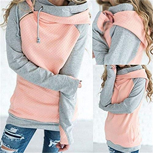 (ZX Fashion Women Double Hoods Sweatshirt Womens Casual Hooded Long Sleeve Sweathirts Womans Tops Green)