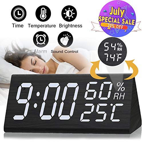 Wooden Alarm Clock - 12H/24H Digital Triangular Clock Large Display with Temperature and Humidity Sound Control Weather Monitoring Wake Up Clock for Kids Heavy Sleeper Prime Deal Back to School Gifts