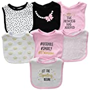 Hudson Baby Cotton Drooler Bibs, 7 Pack Accessory, princess, One Size