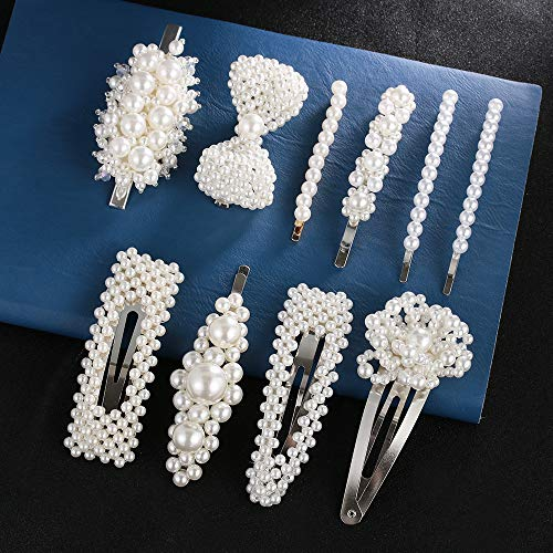 Pearl Hair Clips,10 Pcs Large Bows/Clips/Ties for Women Girls, Hairpins Hair Styling Tools Accessories Hairgrip Headdress Gift (Best Cheap Bows 2019)