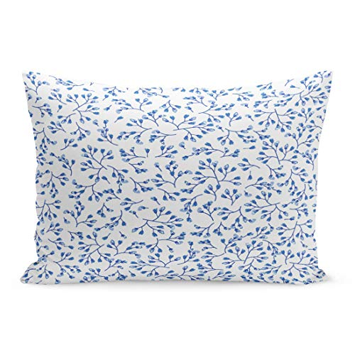 (Semtomn Throw Pillow Covers Elegant Gentle Blue and White Pattern in Small Scale Flower Buds Millefleurs Liberty Floral Porcelain Pillow Case Lumbar Pillowcase for Couch Sofa 20 x 26 inchs)
