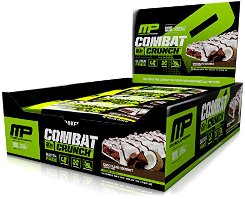 MusclePharm Combat Crunch Protein Bars, Chocolate Coconut, 12 Bars