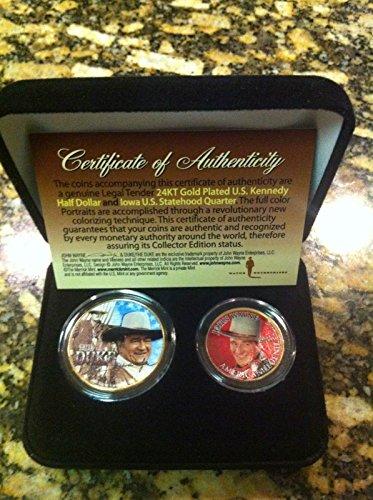 - John Wayne 24KT GOLD Plated U.S. Kennedy Half Dollar & Iowa Statehood Quarter! W/H Box!