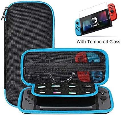 SHareconn Funda para Nintendo Switch con Protector de Pantalla de Vidrio Templado, Estuche protector con estuche rígido para viaje, con 8 Cartuchos de Juego, Azul: Amazon.es: Electrónica