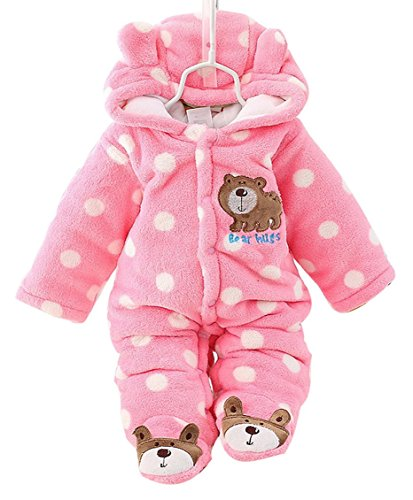 Baby Infant Fannel Rompers Long Sleeve Jumpsuit Outfit Bear Footies Clothing Pink for 3-6M