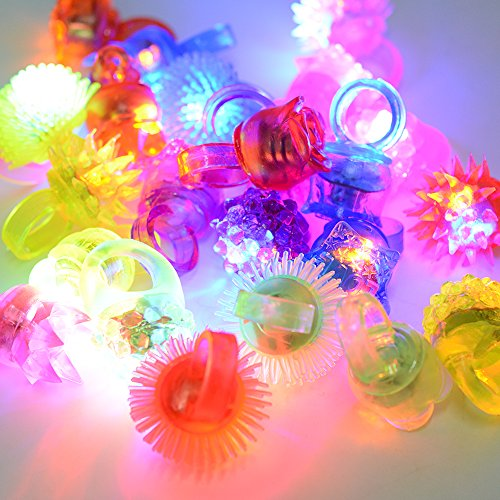 DSstyle Fun Central LED Flashing Jelly Rings - Assorted Styles and Colors 24ct Light - Mall Oracle