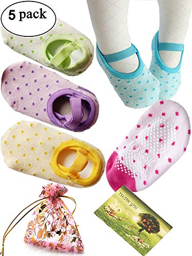 Cheap BSLINO 8-36 Months Cute Baby Girl Mary Jane Toddler Anti Slip Skid strap foot Socks + Gift bag + Gift Card, Stripes No-Show Crew Boat Socks Footsocks sneakers, pack of 5