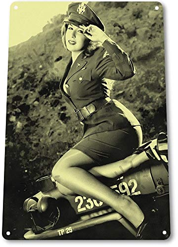 NGFD TIN Sign B163 Jeepers Hot Pin-up Girl WW2 Army Military Uniform Historic Metal ()