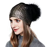 Womens Pom Pom Beanie for Winter Hats Real Fox Fur Slouchy Hat Sparkle Shiny,Black,Normal one size fit for all with stretch