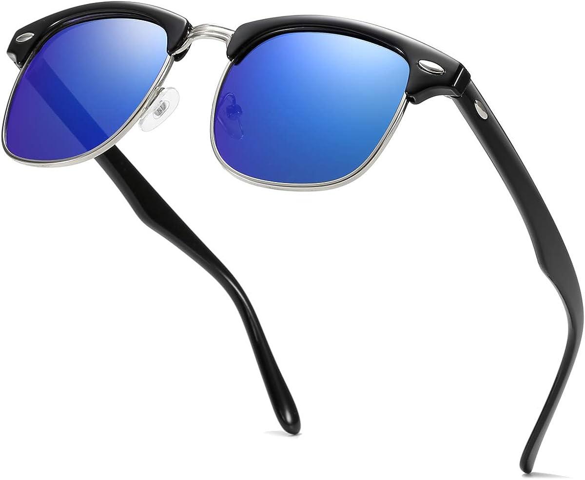 ENSARJOE Polarized Sunglasses Retro Semi Rimless Sun Glasses for Men Women Driving Eyewear