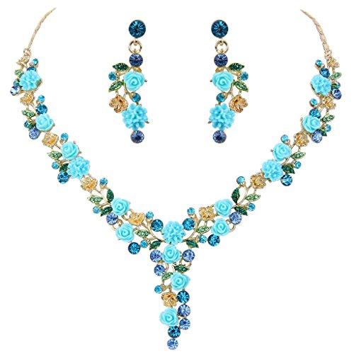 EVER FAITH Austrian Crystal Graceful Camellias Flower Leaf Necklace Earrings Set Blue Gold-Tone