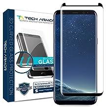 Tech Armor Samsung Galaxy S8 Plus Premium 3D-Edge HD Clear Ballistic Glass Case-Friendly Screen Protector Black [1-Pack]