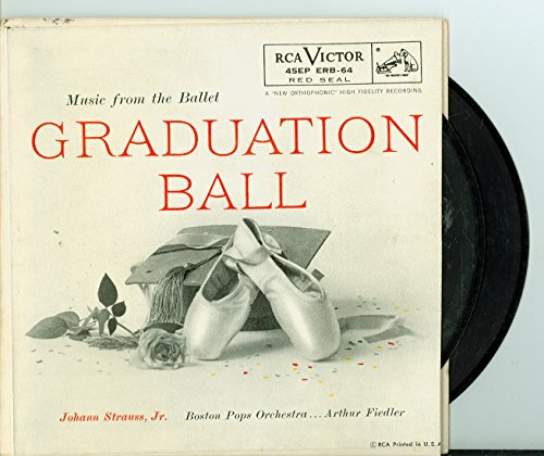 Extended Play Record (EP) ft 4 songs: Graduation Ball (Part 1) / | Graduation Ball (Part 2) / Graduation Ball (Part 3) / Graduation Ball (Concluded) - Boston Pops Orchestra; Arthur Fiedler, Conductor (RCA Victor Red Seal Records 1955) Excellent (5 out of 10) - Vintage 45 RPM Vinyl Record Excellent Conductor