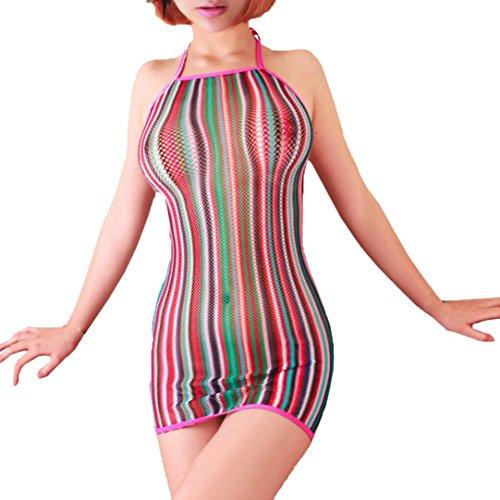 Nevera Women Halter Fishnet Babydoll Lingerie Mini Dress Underwear Intimate Nightwear (Free Size, Multicolor)