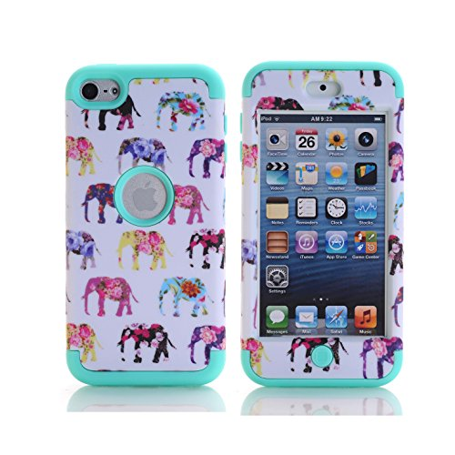 iPod Touch 6th Generation Case, SinYong [Shock Absorption] Drop Protection Hybrid 3 in 1 Armor Defender Protective case Cover for iPod touch 5/ iPod touch 6 (Mint Elephant)