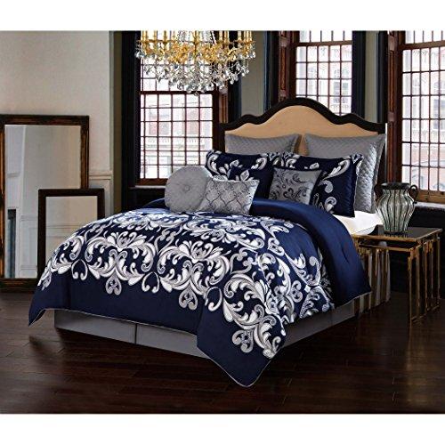 (V19.69 Italia CS1719SNKG10-13 Comforter Set, King, Dolce Vita Silver/Navy)