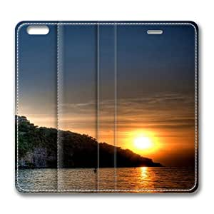 Amazing Lake Sunset Standing Leather Smart Cover Case Exclusive for iPhone 6 Screen