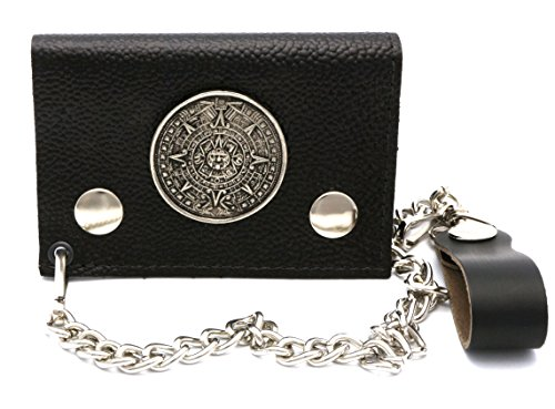 Trifold Black Genuine Leather Biker Wallet with Metal Mayan Calendar Design