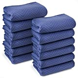 Sure-Max 12 Moving & Packing Blankets - Deluxe Pro - 80'' x 72'' (40 lb/dz weight) - Professional Quilted Shipping Furniture Pads Royal Blue