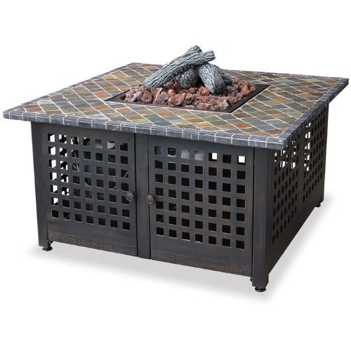 UniFlame Grey Slate Top LP Gas Fire Pit with FREE Cover
